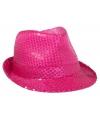 Neon roze feesthoed met glimmers